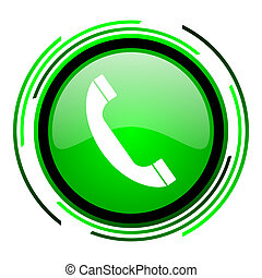 phone green circle glossy icon