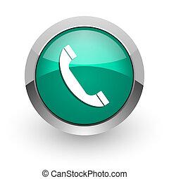phone green glossy web icon