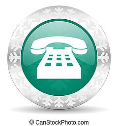 phone green icon, christmas button, telephone sign