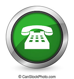 phone green icon telephone sign