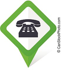 Phone green square pointer vector icon in eps 10 on white background with shadow.