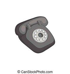 Phone handset icon, black monochrome style