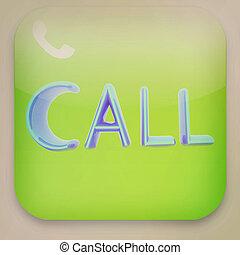Phone icon . 3D illustration. Vintage style.