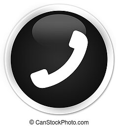 Phone icon black glossy round button