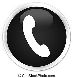 Phone icon black glossy round button