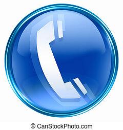 phone icon blue, isolated on white background