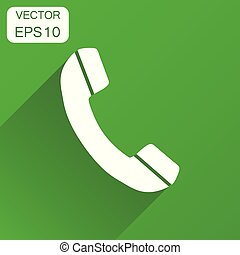 Phone icon. Business concept phone pictogram. Vector illustration on green background with long shadow.