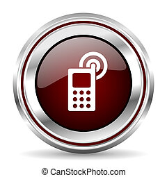 phone icon chrome border round web button silver metallic pushbutton