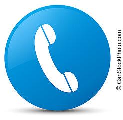 Phone icon cyan blue round button