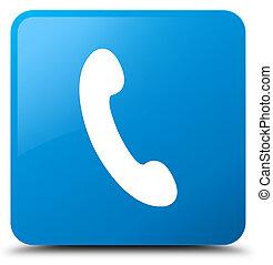 Phone icon cyan blue square button