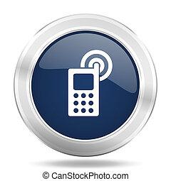 phone icon, dark blue round metallic internet button, web and mobile app illustration