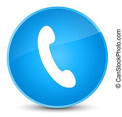 Phone icon elegant cyan blue round button