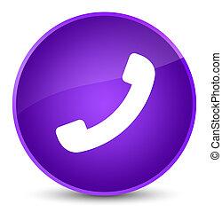 Phone icon elegant purple round button