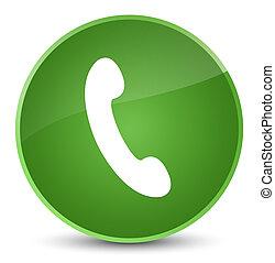 Phone icon elegant soft green round button