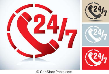 phone icon and 24/7 sign