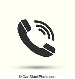 Phone icon. Flat vector illustration. Phone sign symbol with shadow on white background.