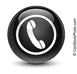 Phone icon glassy black round button