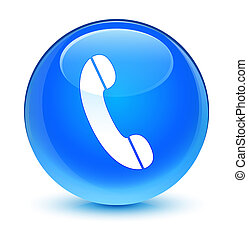 Phone icon glassy cyan blue round button