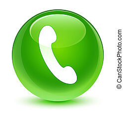 Phone icon glassy green round button