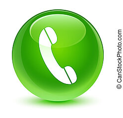 Phone icon glassy green round button