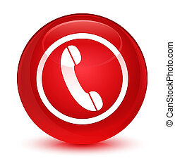 Phone icon glassy red round button