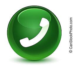 Phone icon glassy soft green round button