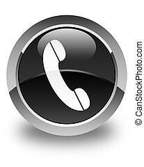 Phone icon glossy black round button