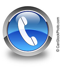 Phone icon glossy blue round button 4