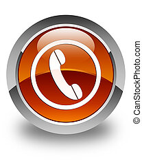 Phone icon glossy brown round button