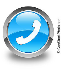 Phone icon glossy cyan blue round button