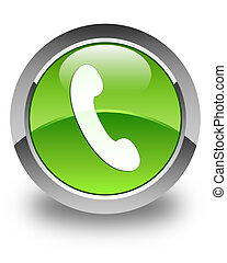 Phone icon glossy green round button 3