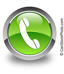 Phone icon glossy green round button 4