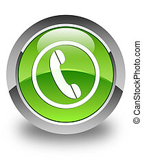Phone icon glossy green round button
