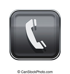 Phone icon glossy grey, isolated on white background