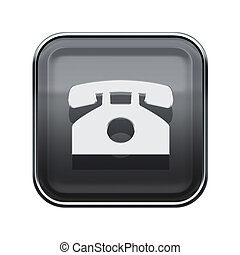 Phone icon glossy grey, isolated on white background