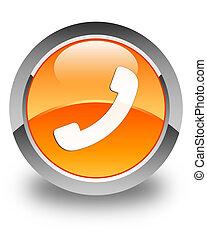 Phone icon glossy orange round button 2