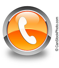Phone icon glossy orange round button 3