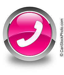 Phone icon glossy pink round button