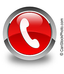 Phone icon glossy red round button