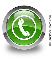 Phone icon glossy soft green round button