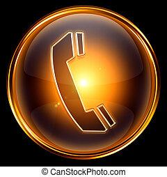 phone icon gold, isolated on black background.