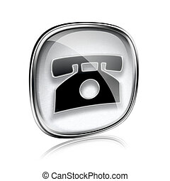 phone icon grey glass, isolated on white background.