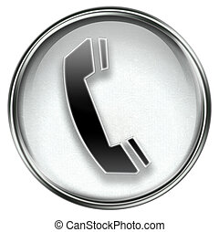 phone icon grey, isolated on white background