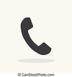 Phone icon in flat style. Vector illustration on white background with shadow.