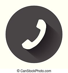 Phone icon in flat style. Vector illustration with long shadow.