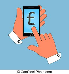 phone icon in the hand, with the British pound icon on the screen, isolation on a blue background. Stylish vector illustration for web design.