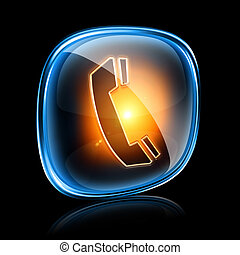 phone icon neon, isolated on black background.