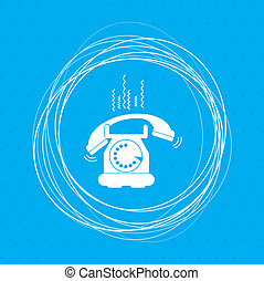 Phone Icon on a blue background with abstract circles around and place for your text.