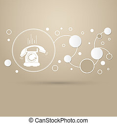 Phone Icon on a brown background with elegant style and modern design infographic.