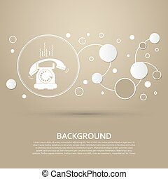 Phone Icon on a brown background with elegant style and modern design infographic. Vector